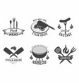 bbq set grill and barbecue restaurant logo vector image