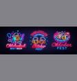 big neon signs for oktoberfest beer vector image