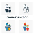 biomass energy icon set four elements in diferent vector image vector image