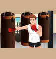 boxer training in the gym vector image