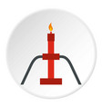 burning oil gas flare icon circle vector image vector image