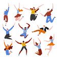 characters jumping happy feeling and success vector image