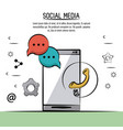 colorful poster of social media with icons speech vector image