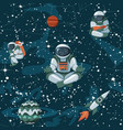 comic space with stars funny astronauts and vector image