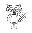 cute line icon raccoon cartoon vector image