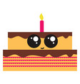 cute little birthday cake on white background vector image vector image