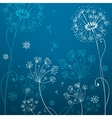 Deep blue dandelion flowers vector image vector image