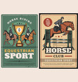 equestrian sport horse riding race on hippodrome vector image vector image