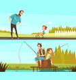 fatherhood 2 retro cartoon banners vector image vector image