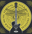 folk music festival poster or banner with guitar vector image