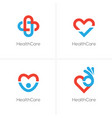 four health care logo with heart shape vector image vector image