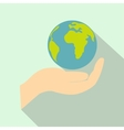 Globe in hand flat icon vector image vector image