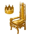 Gold Royal crown and throne two items vector image vector image