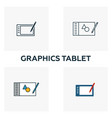 graphics tablet icon set four elements in vector image vector image