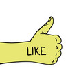 hand like thumb up hand drawn like doodle icon vector image vector image
