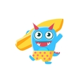 Happy Blue Monster With Horns And Spiky Tail vector image vector image