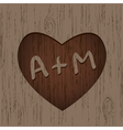heart symbol on the wood vector image vector image