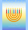 jewish holiday of hanukkah greeting inscription vector image