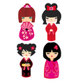 Kokeshi dolls in various designs isolated on white vector image vector image