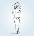 line sketch a woman in a bathing suit and hat vector image