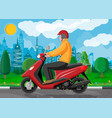 man on motor scooter in city vector image vector image