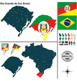Map of Rio Grande do Sul vector image vector image