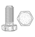 metal bolt with hex head drive hand drawn sketch vector image vector image