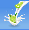 milk splash with lime pouring citrus yogurt vector image vector image
