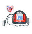 modern portable defibrillator with small screen vector image vector image