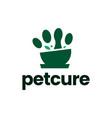 mortar pestle pet paw medicine medical logo icon vector image