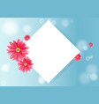Pink flower and paper greeting card