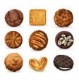 realistic cookies set vector image vector image