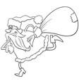 running santa claus christmas character coloring vector image vector image
