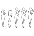 Sequence of drawing a beautiful female contour vector image vector image