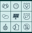 set of 9 eco-friendly icons includes cloud vector image vector image