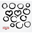 Set of painted colors ink mud circles and hearts vector image