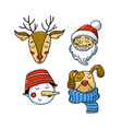 set of xmas avatars - deer santa snowman dog vector image