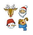 set of xmas avatars - deer santa snowman dog vector image vector image