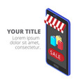 shopping infographic mobile shopping icon backgrou vector image vector image