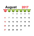 simple calendar 2017 year august month vector image vector image