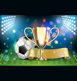 soccer ball arena stadium golden cup and yellow vector image