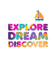 summer vacation boat travel cutout color quote vector image vector image