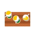 Three mugs of beer on a wooden table icon vector image vector image
