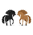 two horses in love black and red horses vector image vector image