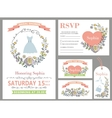 Wedding design template setDoodle Floral decor vector image vector image