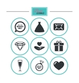 Wedding engagement icons Love oath letter vector image vector image