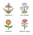wild flowers color icons set douglas iris cow vector image vector image