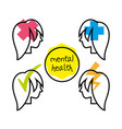 women silhouette with different mentality brain vector image vector image