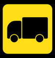 yellow black information sign - lorry car icon vector image vector image
