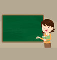 young woman teacher in front of chalkboard vector image vector image